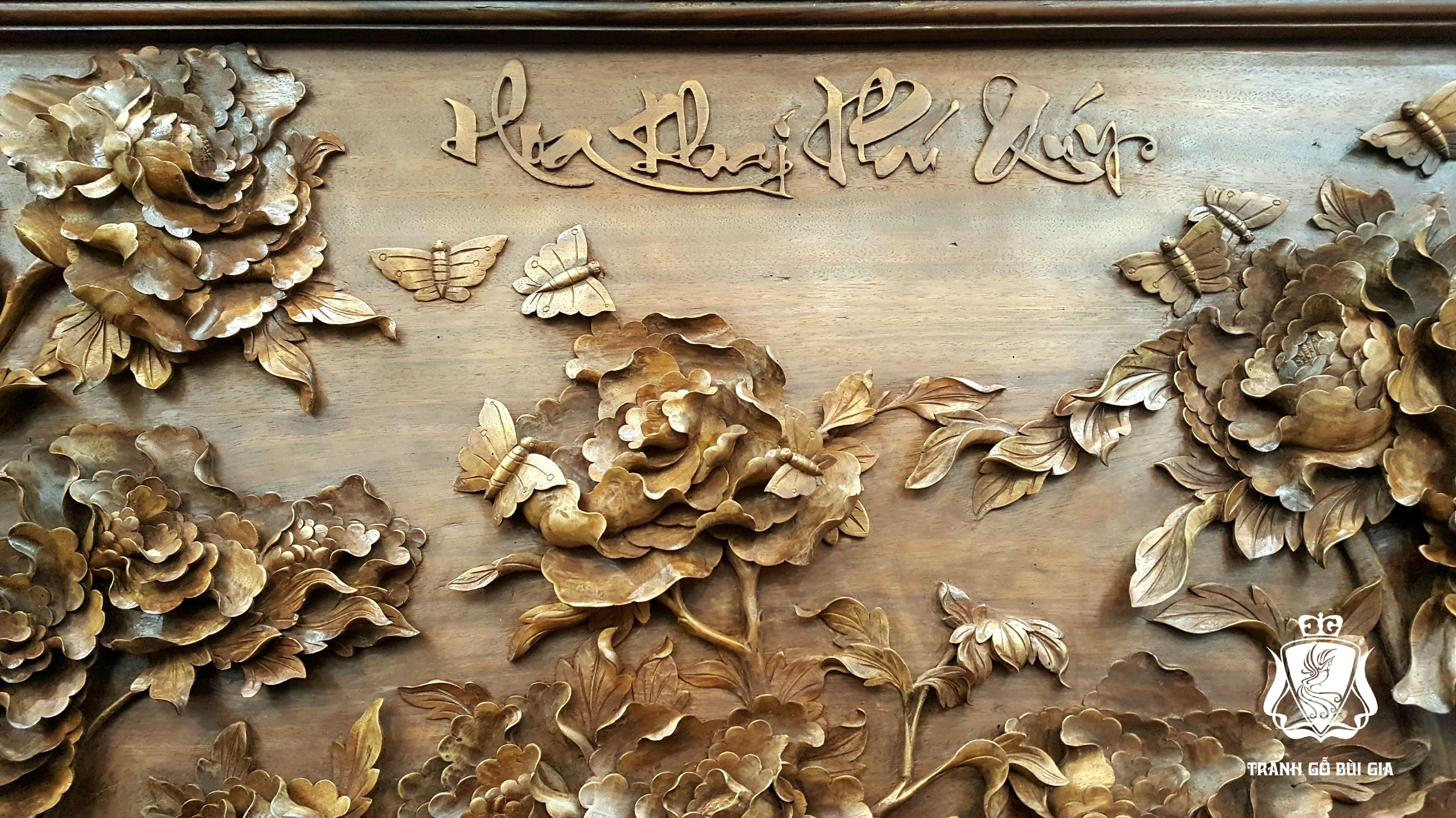 Tranh Gỗ Hoa Mẫu Đơn. Tuyệt kỹ đục cánh hoa tơi nét