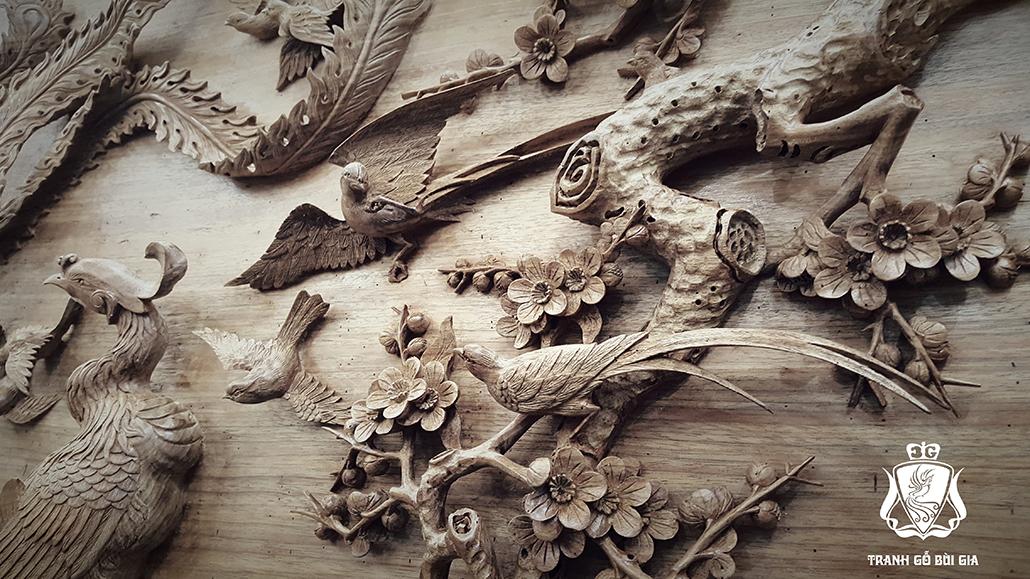 Tranh gỗ Bách Điểu Triều Phụng. Đục Thủ Công Tinh Xảo