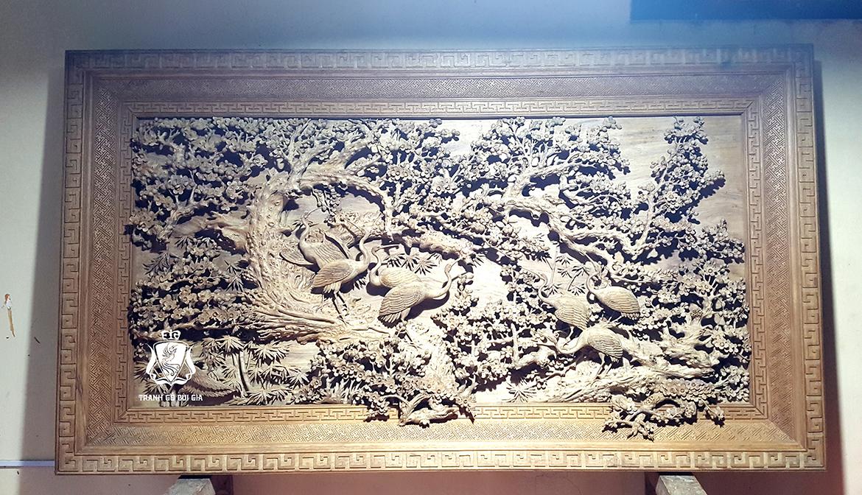 Tranh gỗ Cửu Hạc Du Xuân