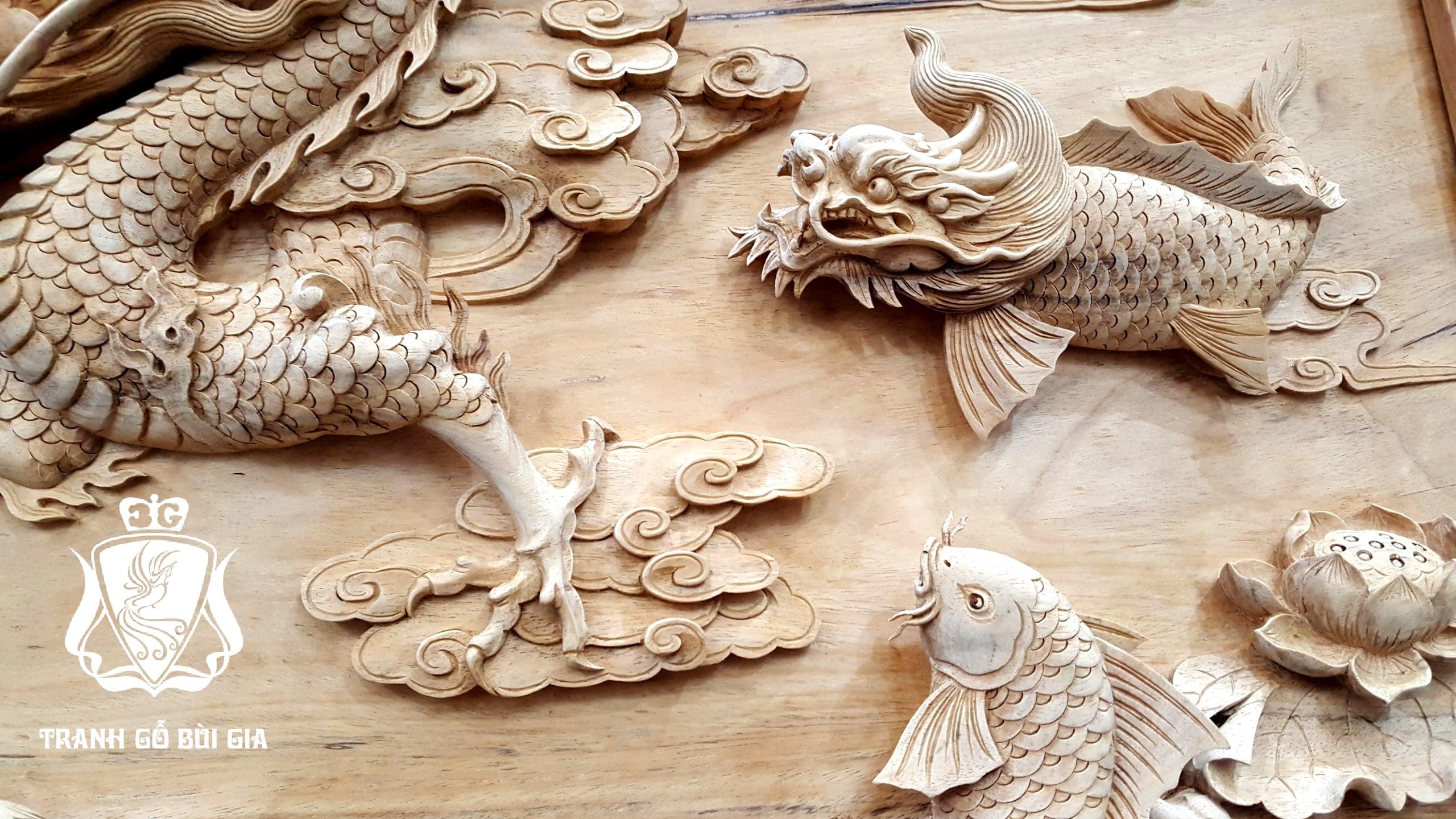 Tranh gỗ Cá Chép Hóa Rồng.