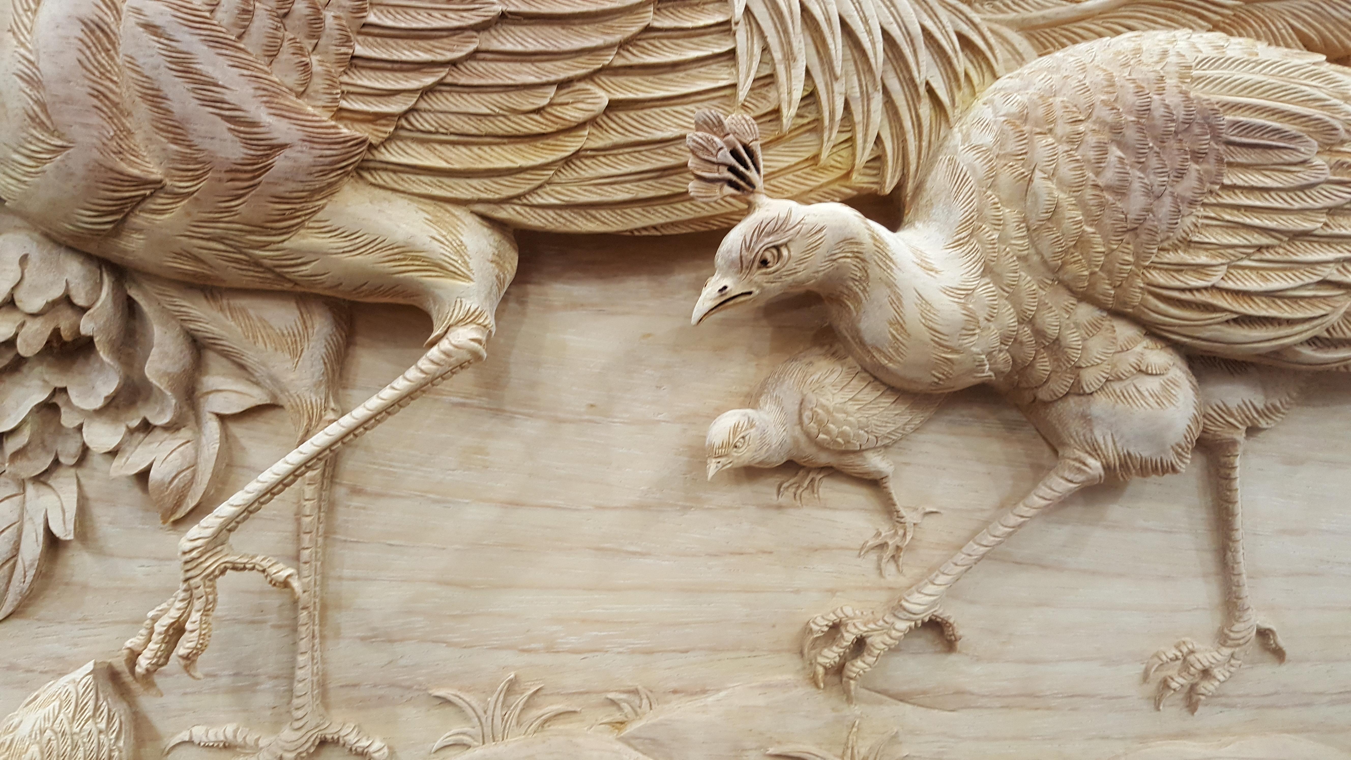 Tranh gỗ Chim Công Hoa Mẫu Đơn