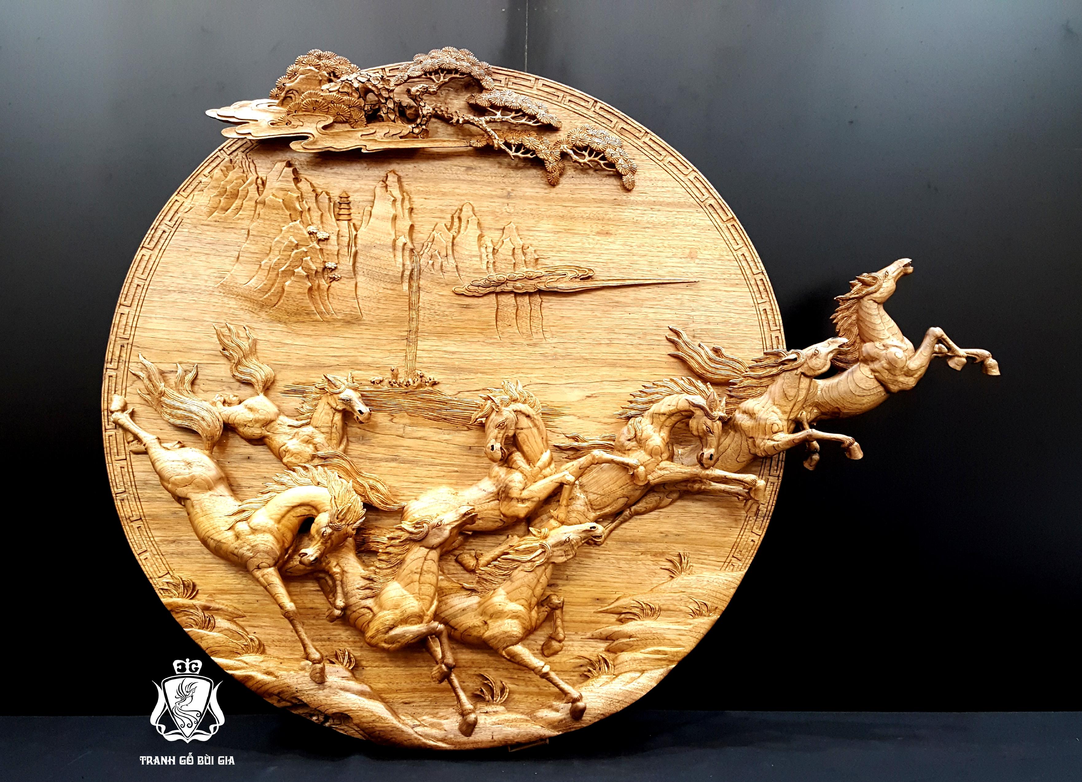 Mã Đáo Thành Công. Mẫu Tranh Tròn Độc - Lạ - Dị. Duy Nhất Tại Tranh gỗ Bùi Gia