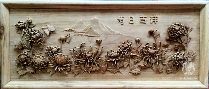Tranh gỗ Hoa Cúc. Siêu Tác Phẩm Đục Tay Kênh Bong