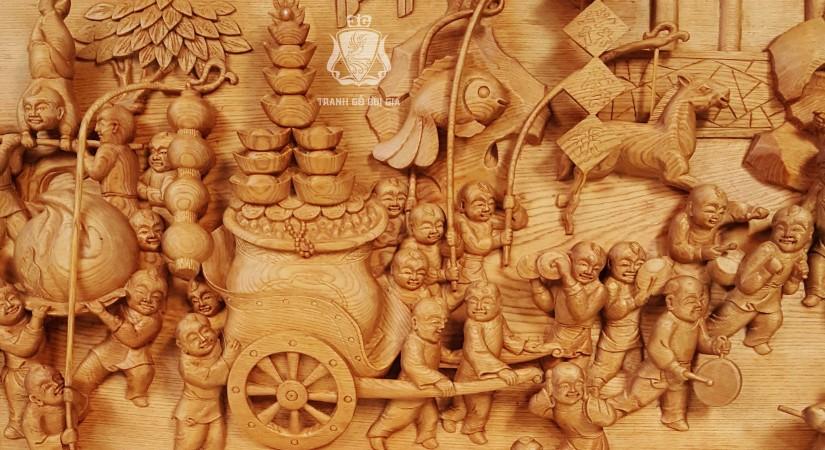 Tranh gỗ Bách Tử Đồ