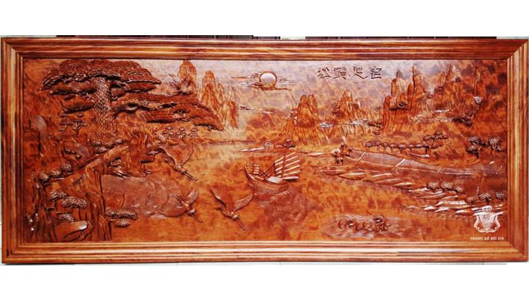 Tranh gỗ Tùng Hạc Nghênh Khách. Cực Phẩm Của Phong Thủy Phòng Khách