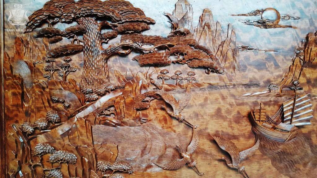 Tranh gỗ Bùi Gia. Tranh TÙNG HẠC DIÊN NIÊN