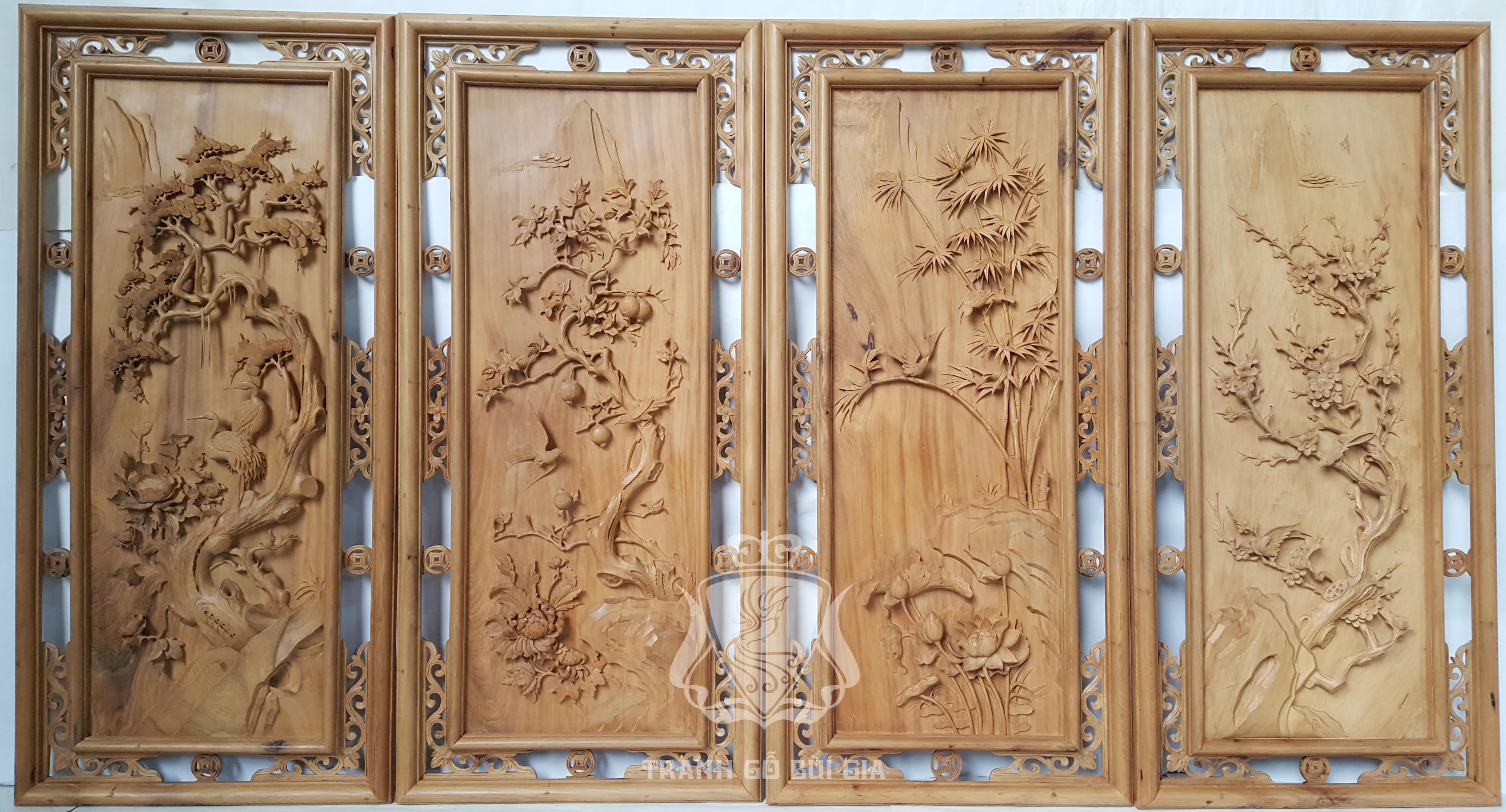 Tranh gỗ tứ quý Tùng Lựu Cúc Mai. Đục tay gỗ Bách Xanh