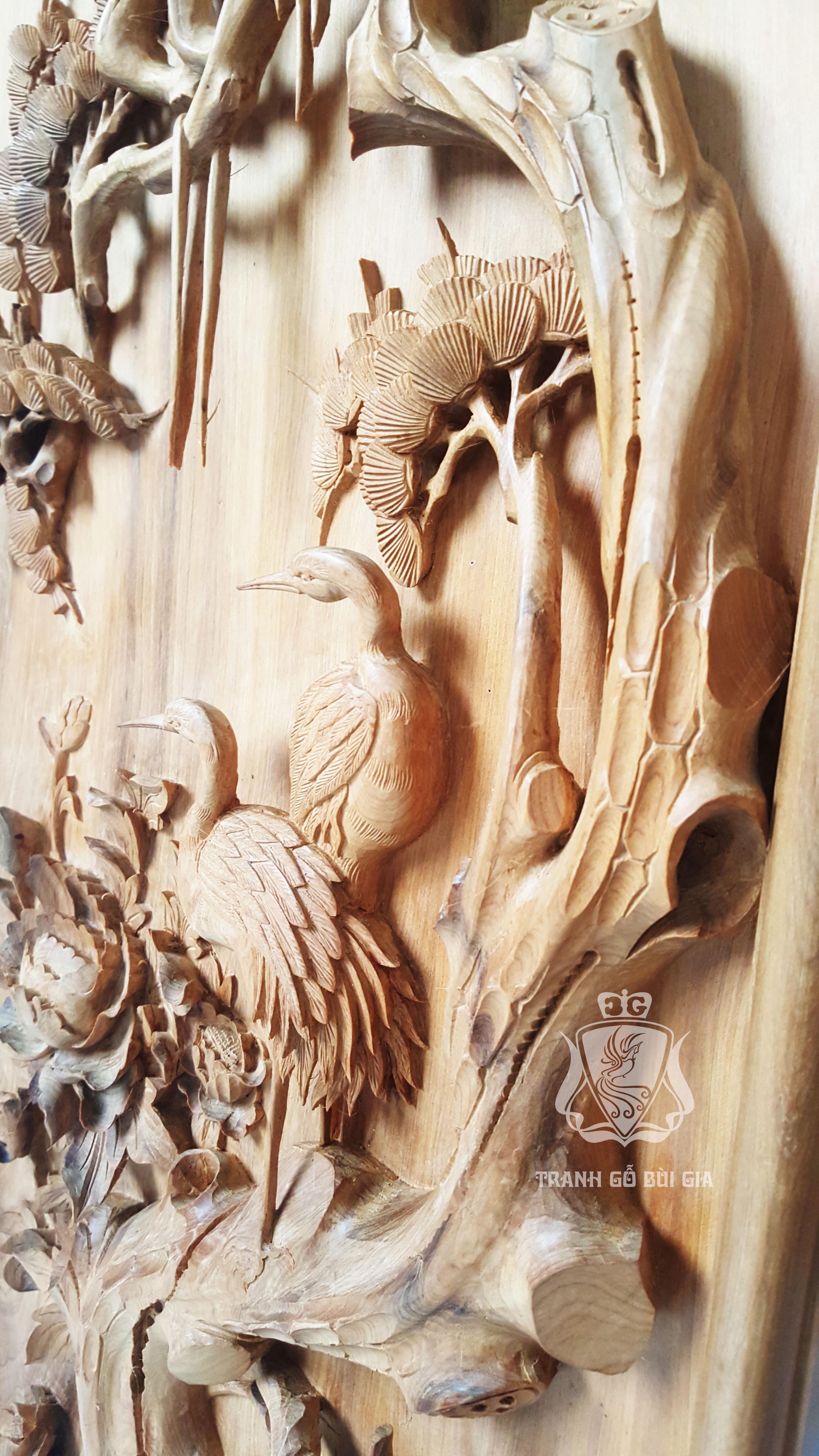 Tranh tứ quý Tùng Lựu Cúc Mai. Đục tay gỗ Bách Xanh