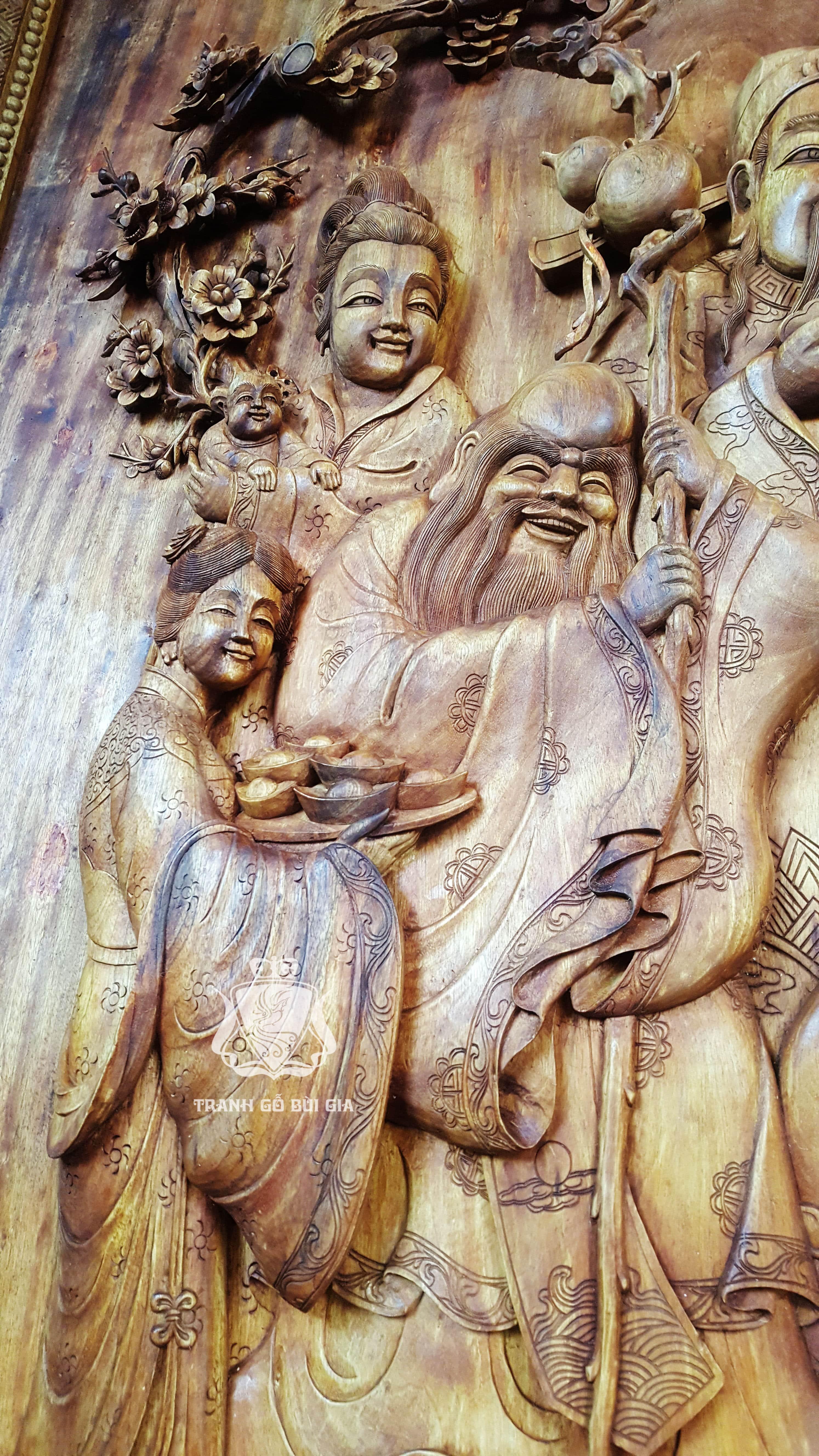 Tranh gỗ Tam Đa. Mẫu tranh Tam Đa đục tay tuyệt đẹp