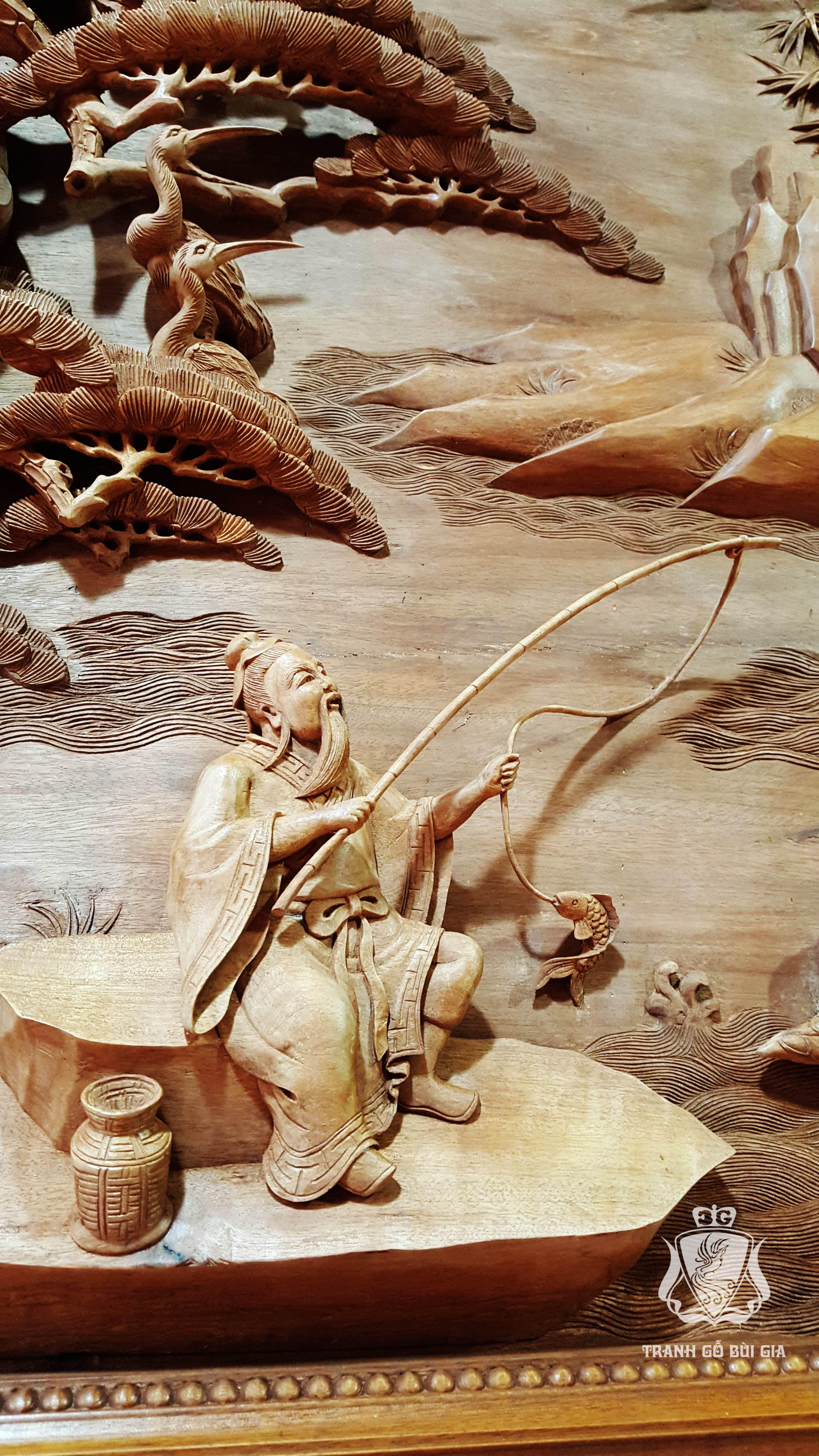 Tranh gỗ Đồng Quê đục tay sắc nét