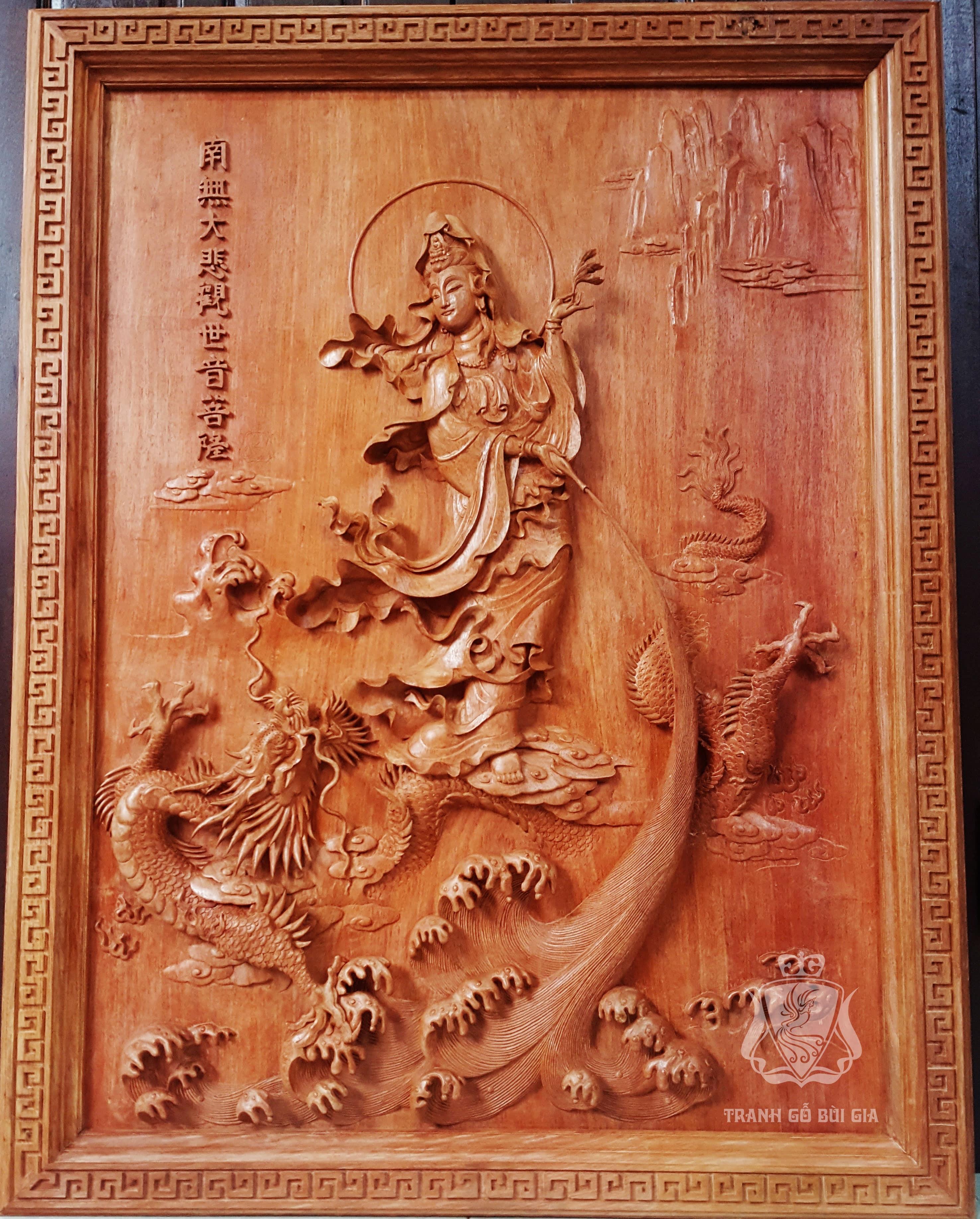 Tranh gỗ Quan Thế Âm Bồ Tát.