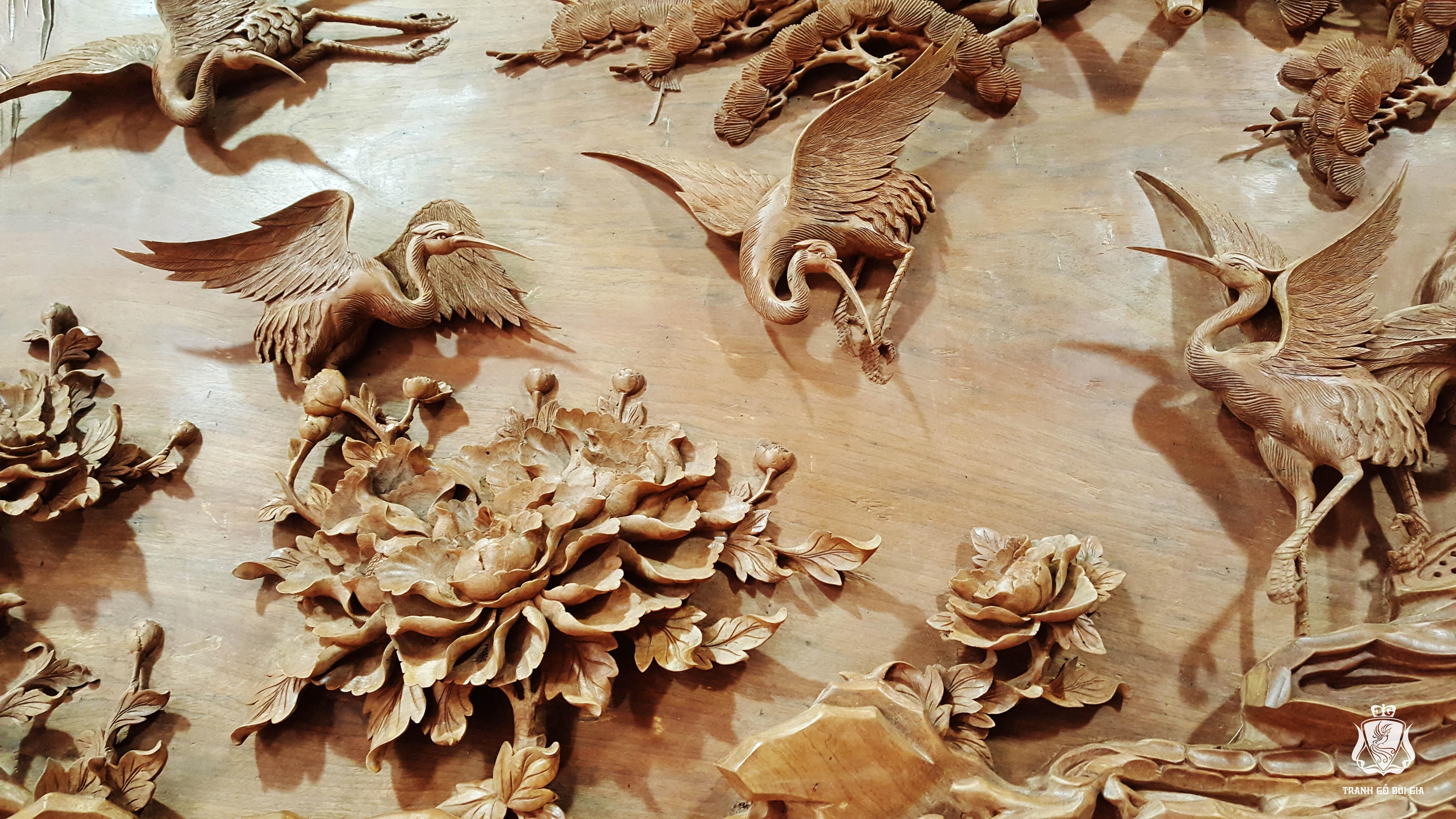 Tranh gỗ Tùng Hạc Diên Niên đục tay tuyệt đỉnh